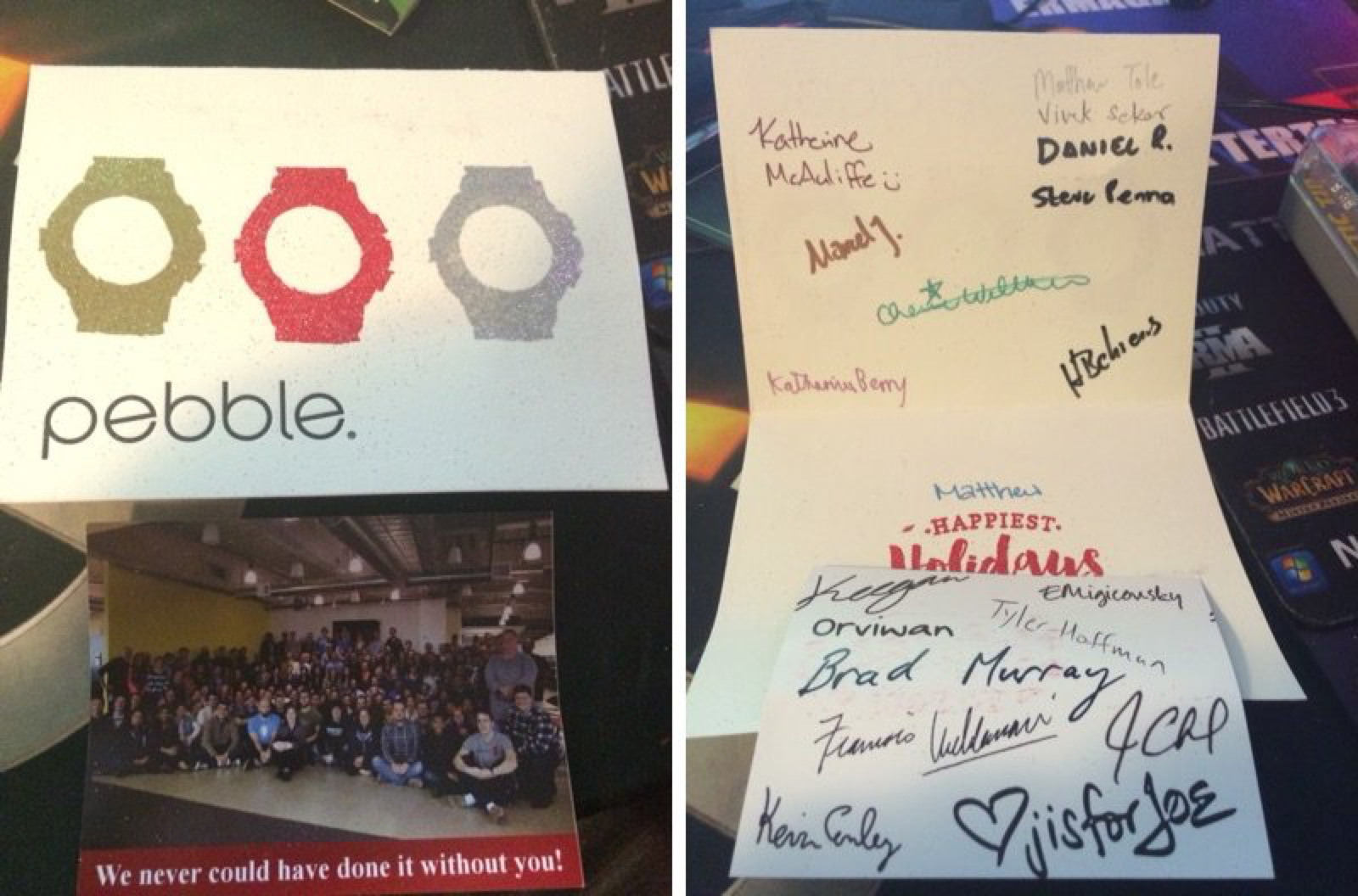 A thank you card Pebble sent me