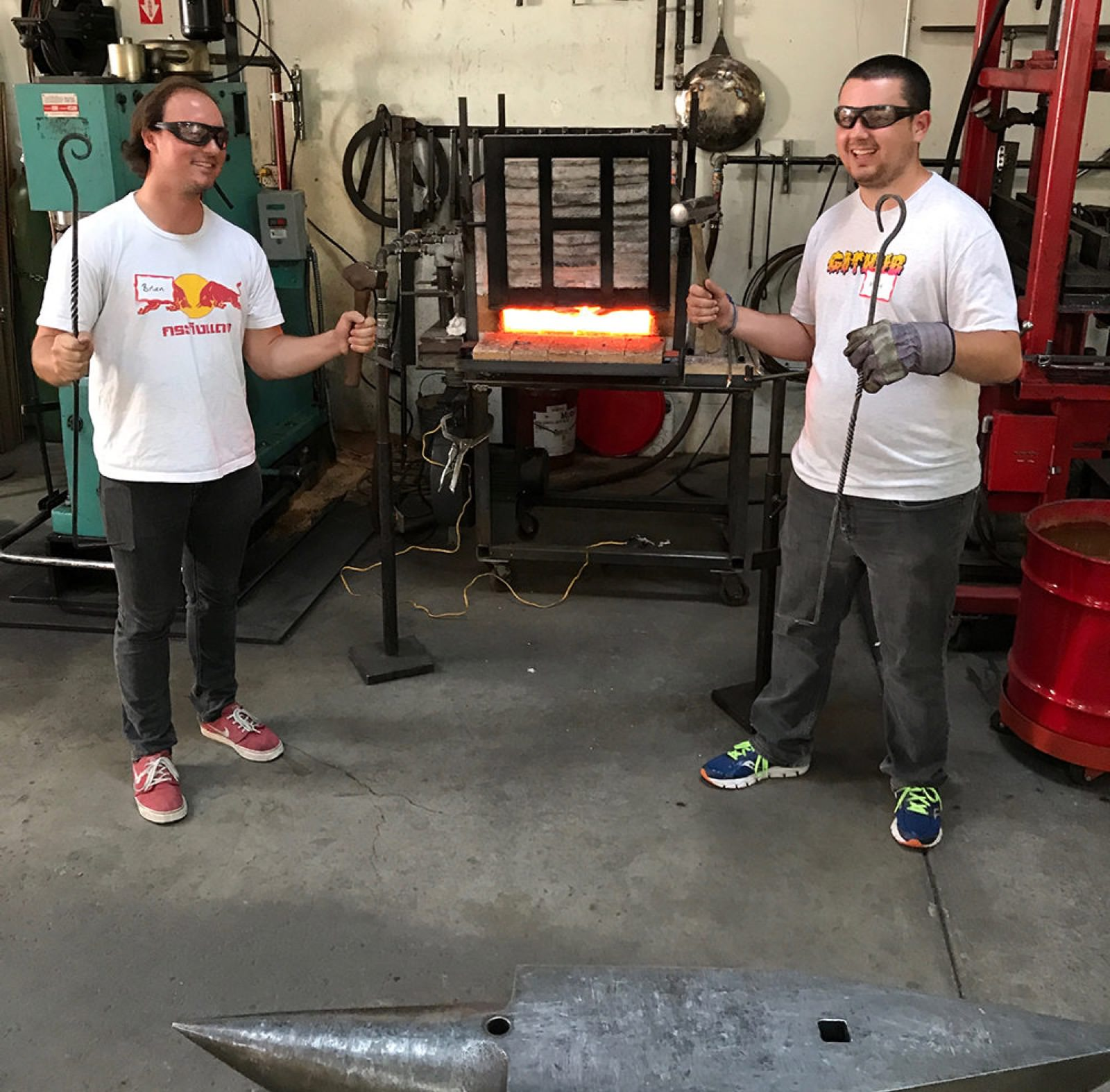 Brian (another security intern) and I with our firepokers