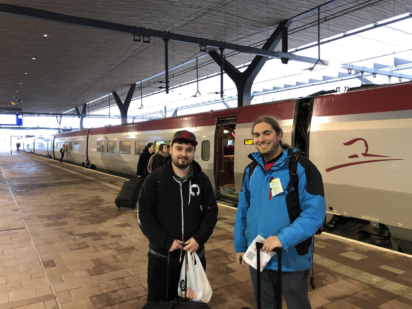Forest and I about to board the Thalys high speed train